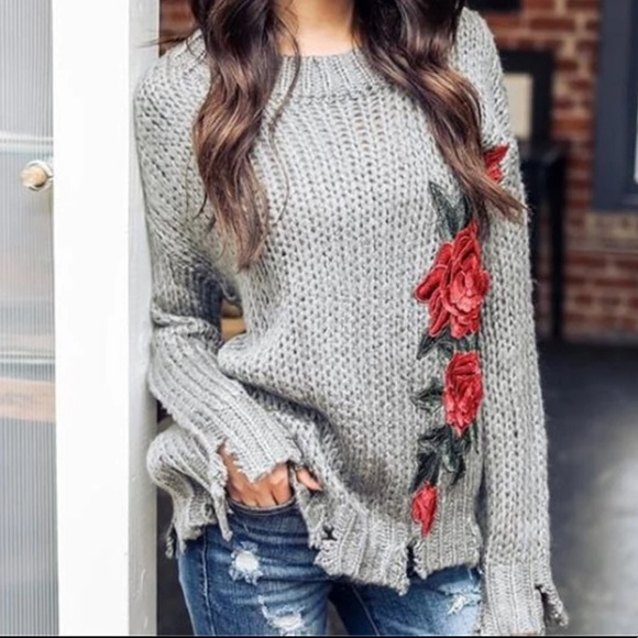 3ed29336802107 unbranded Sweaters | Gray Knit Distressed Sweater With Embroidered ...